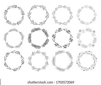 Set of hand drawn wreaths and frames. Vector isolated illustration. Doodle style.