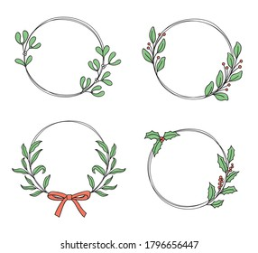Set of hand drawn wreaths with mistletoe, holly and other foliage for Christmas, winter and everyday design