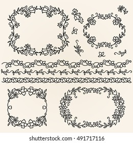 Set of hand drawn wreaths and romantic floral design elements. Simple sketch, vector illustration.
