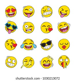 A set of hand drawn yellow smiley emoji face icons, also known as emoticons. Vector set.