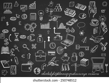 Set of hand drown icons, on chalkboard, for creating business concepts and illustrating ideas, EPS 10 contains transparency.