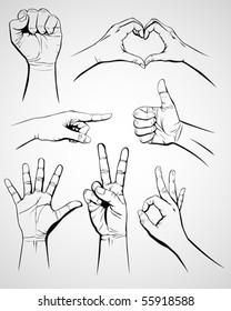 Set of hand gesture