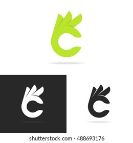 Set of hand with gesture ok logo template isolated on background. Vector design elements, signs, logos, identity, labels, badges and other branding objects for your business. Vector Illustration