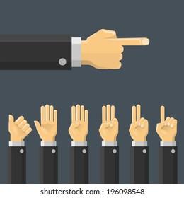 Set hand gesture. Vector