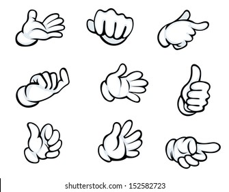 Set of hand gestures in cartoon style for comics design. Jpeg version also available in gallery