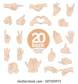 Set of hand gestures. Different hands,signals and signs, vector illustration.