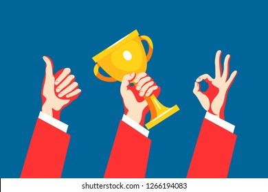 Set of hand gestures. Victory sign, ok sign, gesture of approval. Hand holding winner cup. Vector illustration