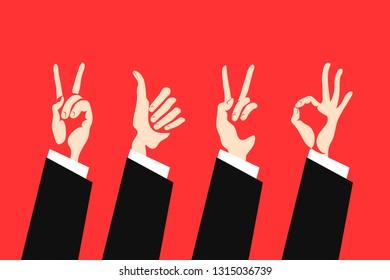 Set of hand gestures. Victory sign, ok sign, gesture of approval. Vector illustration