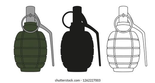 Set of hand grenades. Vector illustration.
