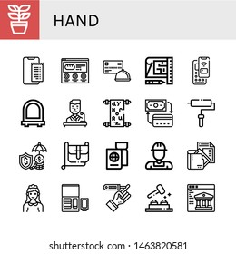 Set of hand icons such as Plant, Online payment, Website, Credit card, Blueprint, Pay, Mirror, Politician, Manuscript, Payment method, Roller, Hand bag, Passport , hand