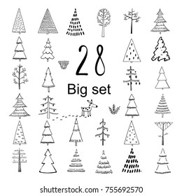 Set of hand illustrated Christmas trees in Doodle style on white background. Every single tree with its own decoration. Perfect collection for greeting cards, backgrounds or wrapping paper designs.