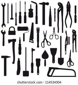 Set of hand instruments silhouettes