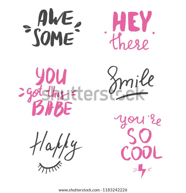 Set Hand Lettered Motivational Quotes Cute Stock Vector Royalty