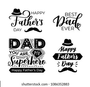 Set of hand lettering qoutes on white isolated background. Father's day black ink vector phrases with hat and mustache.