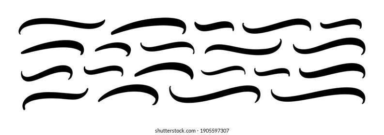 Set of hand lettering underlines lines. Vector underline stroke. Design concept element collection.