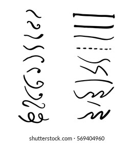Set of hand lettering underlines lines isolated on white, vector illustration