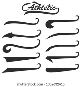 Set of hand lettering underlines swishes tail, swooshes collection isolated on white, Swashes for Typography Tshirt. Retro Swoop wave line. Vector.