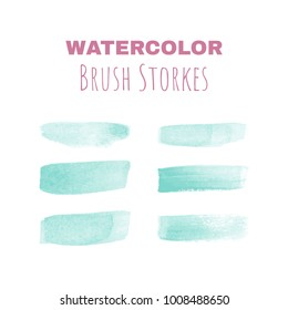 Set of hand made vector watercolor brush strokes