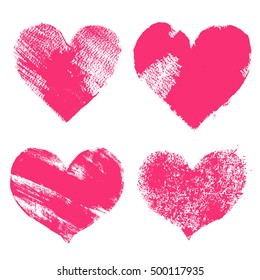 Set of hand paint vector pink hearts in grunge style, isolated on white. Silhouettes for Valentine`s day, love, romantic theme, t-shirt design and print.