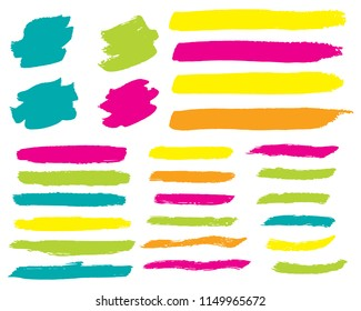 Set of Hand Painted Blue Brush Strokes. Vector Grunge Brushes. Vector Frame For Text Modern Art Graphics For Hipsters. Dirty Artistic Creative Design Elements. Perfect For Logo, Banner.