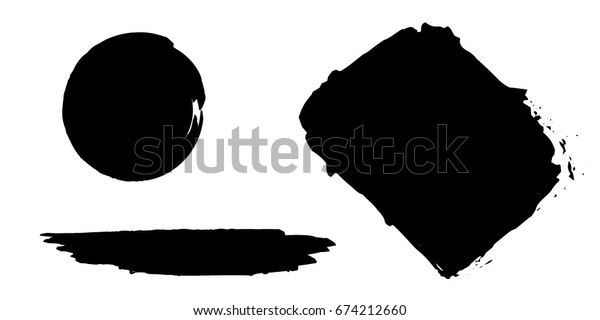 Set of Hand Painted Brush Strokes.Vector Grunge Brushes. Dirty Artistic Design Elements. Creative Design Elements.