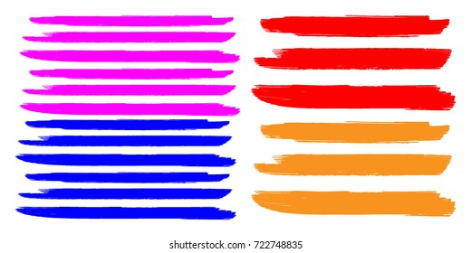 Set of Hand Painted Colorful Brush Strokes.Vector Grunge Brushes. Dirty Artistic Design Elements. Creative Design Elements. Perfect For Logo, Banner.