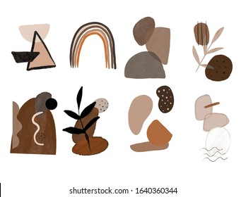 Set of hand painted contemporary scribble and shapes. Abstract contemporary modern trendy vector illustration. Creative collage minimal geometric paster colors isolated elements.