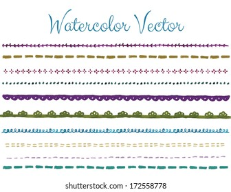 Set of Hand Painted Decorative Watercolor Vector Borders