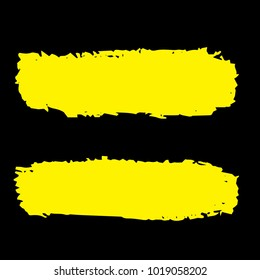 Set of Hand Painted Golden Brush Strokes. Gold Vector Grunge Brushes. Vector Frame For Text Modern Art Graphics For Hipsters.  Dirty Artistic Creative Design Elements. Perfect For Logo, Banner.