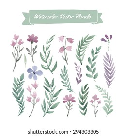 Set of hand painted purple watercolor vector flowers and green leaves. Design element for summer wedding, spring congratulation card. Perfect floral elements for save the date card.