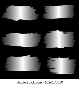 Set of Hand Painted Sliver Brush Strokes. Vector Grunge Brushes. Vector Frame For Text Modern Art Graphics For Hipsters. Dirty Artistic Creative Design Elements. Perfect For Logo, Banner, Icon.