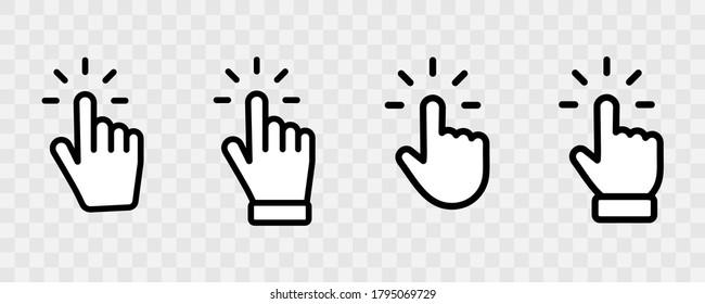 Ensemble de symboles de pointeur Main dans un style plat tendance. Clic sur le curseur de l'ordinateur sur fond transparent. Cliquez sur Collection de curseurs. Cliquer sur le doigt. Icône du pointeur de la main. Curseur