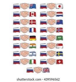 set of hand shaking country flags with russia flag-vector drawing