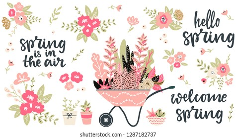 Set of hand sketched spring season vector flowers, leaves, branches and bouquets and hand written lettering words and phrases hello spring, welcome spring, spring in the air