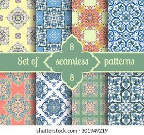 Set hand tile vintage color seamless pattern. Italian majolica style. Vector illustration. The best for your design, textiles, posters