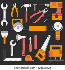 Set of hand tools in flat style