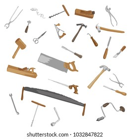 A set of hand tools. Vintage. Without background. Isolated .Vector drawing.