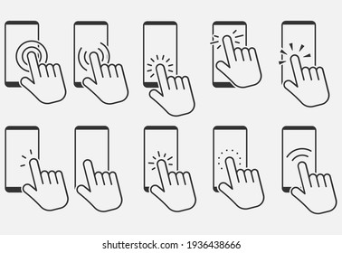 Set of hand touch screen smartphone icon. Click on the smartphone.  Vector illustration. Eps 10.