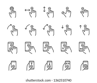 set of hand touchscreen gesture icons, such as hand, app, phone, tap, touch