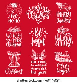 Set of hand written Christmas phrases on red background. Vector hand drawn illustrations of New Year toys and Nativity symbols for greeting card concepts, poster templates.