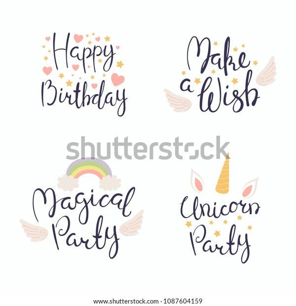 ハート 星 天使の翼 虹を含む手書きの誕生日記 白い背景に分離型オブジェクト ベクターイラスト デザインコンセプトの招待 グリーティングカード のベクター画像素材 ロイヤリティフリー