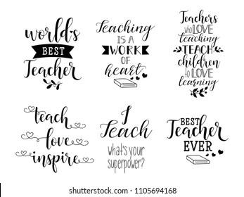 set of hand written lettering about teacher for greeting cards, decoration, prints and posters. Hand drawn typography design elements.