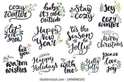 Set of hand written lettering typography phrases about Merry Christmas and Happy New year. 'Tis the season to be jolly, holly jolly, peace, love, joy words for cards, posters, banners,cozy winter