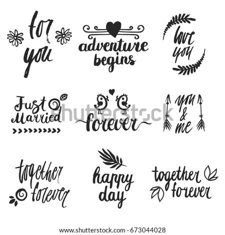 Set Hand Written Wedding Phrases Words Stock Vector (Royalty Free