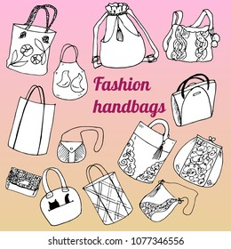 A set of handbags. Vector isolated objects doodles based on hand drawn sketch for design