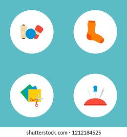 Set of handcraft icons flat style symbols with hosiery, yarn, colorful papers and other icons for your web mobile app logo design.