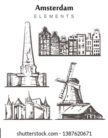 Set of hand-drawn Amsterdam buildings elements sketch vector illustration. Windmills of the Zaanse Schans and Dam Square, the Castle Muiderslot, Houses of Amsterdam.