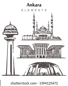 Set of hand-drawn Ankara buildings elements sketch vector illustration. The Atakule tower, Presidential Palace,  Ankara, Kocatepe Mosque, Anitkabir isolated on white background.