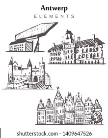 Set of hand-drawn Antwerp buildings, Antwerp elements sketch vector illustration. Town Hall, guild buildings, Steen Castle, Port.