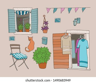 Set of hand-drawn architectural elements, like windows, doors, street lamps, house numbers. Cats, home plants.